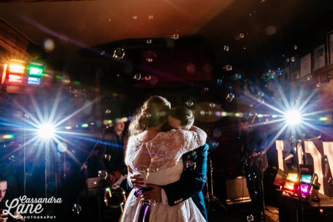 cheshire wedding party bubbles lights
