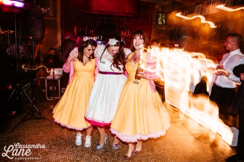 3 girls dancing wedding