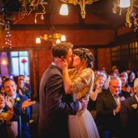 Wedding couple kiss Belle Epoque